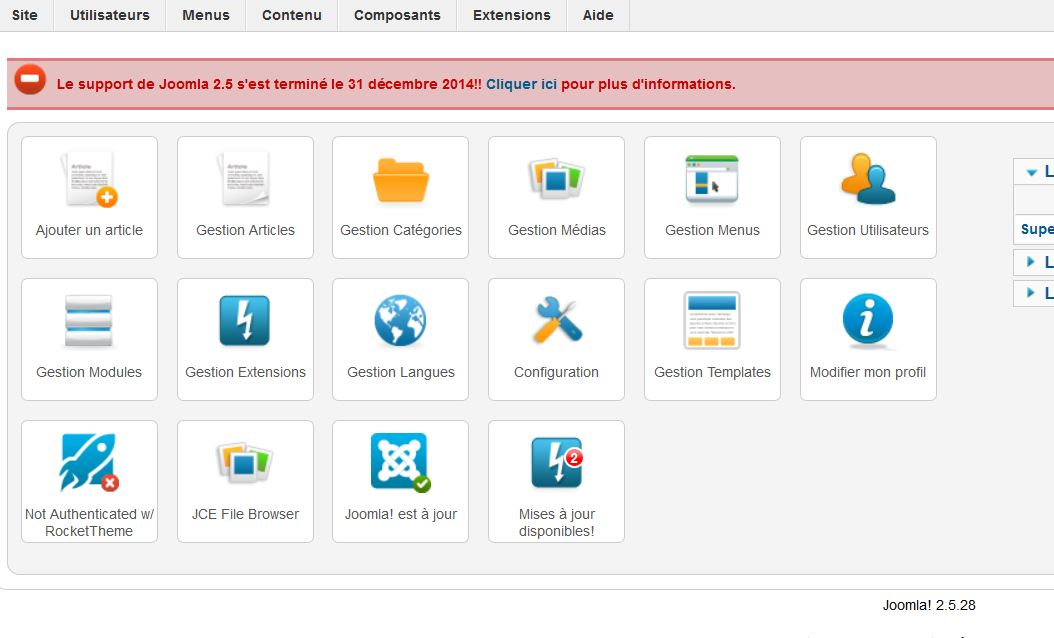 screenshot interface joomla2.5